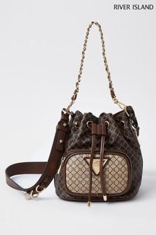 River Island Brown Monogram Duffle Bag