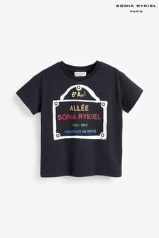חולצת טי עם לוגו של Sonia Rykiel Paris דגם Mini Me בשחור
