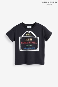 Sonia Rykiel Paris Black Mini Me Logo T-Shirt