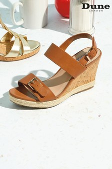 Dune London Kendyll Tan Leather Strapped Wedges