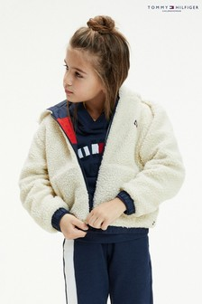Tommy Hilfiger - Giacca sostenibile in sherpa double-face bianca
