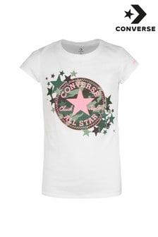 חולצת טי של Converse לילדים עם הדפס קמופלאז' וכוכב