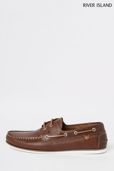 River Island Brown Light Noatie Tumbled Boat Shoes