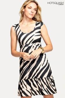 HotSquash Empire Line Knielanges Kleid mit Animalprint