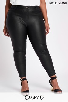 River Island Black Molly PU Trousers