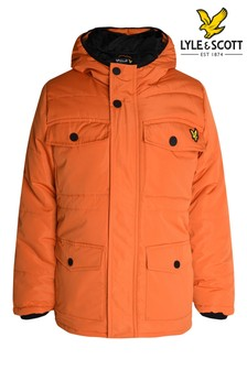 Lyle & Scott Orange Heavyweight Longline Padded Coat