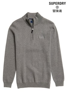 Superdry Grey Henley Knit Top