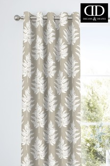 D&D Natural Fern Botanical Print Eyelet Curtains