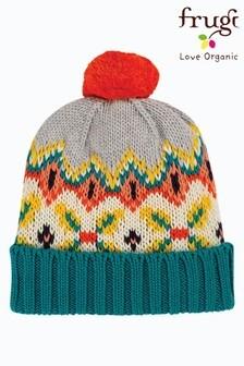 Frugi 灰色有機棉蘇格蘭費爾島圖案圓球帽子