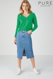 Синяя джинсовая юбка миди Pure Collection