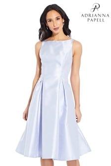 Adrianna Papell Blue Sleeveless Tea Length Dress