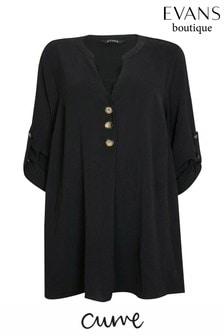 חולצה עם כפתורים למידות גדולות של Evans בשחור