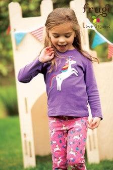 Frugi GOTS Purple Rainbow Unicorn Organic Long Sleeve Top