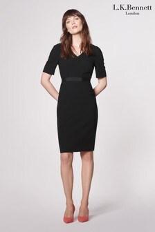 שמלת שיפט מקרפ דגם IslaבצבעשחורשלL.K.Bennett