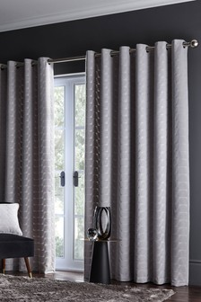 Studio G Silver Lucca Eyelet Curtains