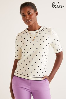 Boden Cream Abingdon Cotton Knitted T-Shirt
