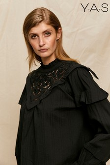 Y.A.S Black Statement Bib Dania Blouse
