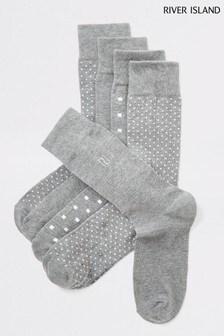 River Island Grey Spot Socks Five Pack