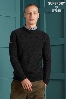 Černý pletený svetr Superdry s kulatým výstřihem