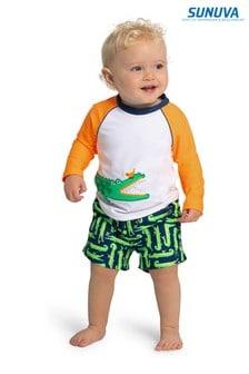 Темно-синие пляжные шорты с принтом крокодилов Sunuva