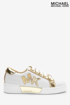 Michael Kors White With Gold MK Logo Trainers