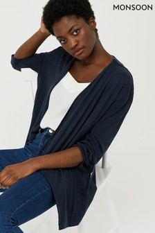 Monsoon Ladies Navy Callie Waterfall Linen Cover Up