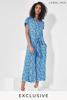 Mix/Brogger Blue Ditsy Floral Jumpsuit