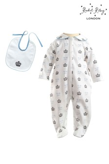 Rachel Riley Prince Crown Babygrow And Bib Set