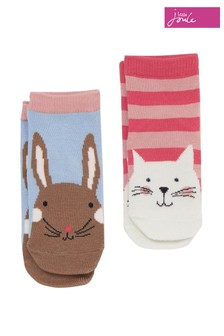 Joules Red Neat Feet Cat And Bunny Character Socks