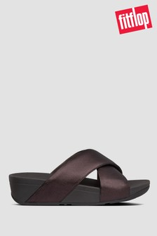 FitFlop™ Brown Lulu Metallic Leather Cross Slides