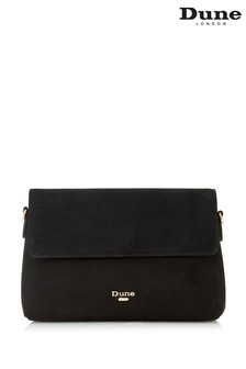Dune London Beliza Black Suede Front Flap Clutch Bag