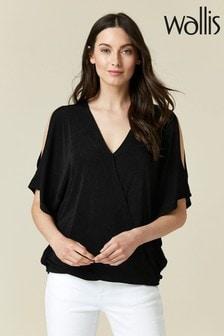 חולצת מעטפת של Wallis מבד נשפך בצבע שחור