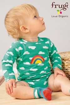 Frugi GOTS Organic Long Sleeve Bodysuit With Rainbow Print