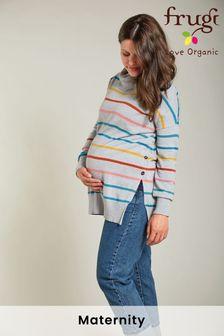 Frugi Maternity and Breastfeeding Roll Neck Grey Rainbow Cotton Jumper