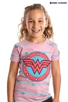Fabric Flavours Pink Wonder Woman Appliqué T-Shirt