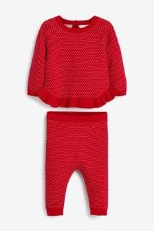 Tweedelige set van trui en legging met stippen (0 mnd-2 jr)