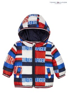 Синяя детская дутая куртка с принтом Tommy Hilfiger