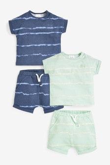 סט 4 חלקים של חולצת טי ומכנסיים קצרים עם דוגמת טאי דאי מכותנה אורגנית (0 חודשים עד גיל 2)