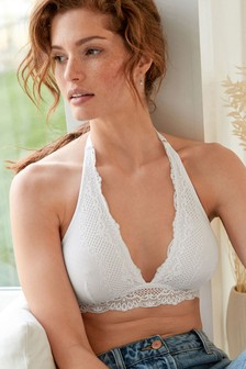 Daisy Non Padded Wire Free Lace Halterneck Bra
