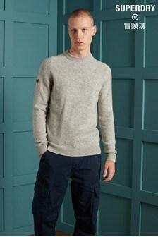 Šedý pletený svetr Superdry s kulatým výstřihem