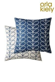 Orla Kiely Blue Small Linear Cushion