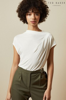 Ted Baker Cream Popeey Cowl Detail Jersey T-Shirt