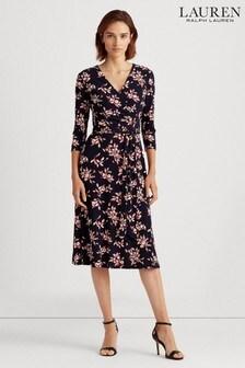 Темно-синее платье с запахом Lauren Ralph Lauren Carlyna