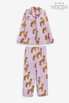 Their Nibs Girls Traditional Pyjama Set In Floral Cheetah
