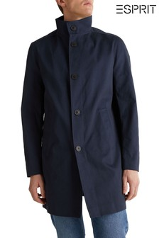 Синее длинное пальто с пуговицами Esprit