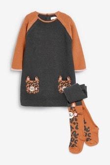 Платье-джемпер и колготки с животным (3 мес.-7 лет)