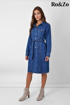 שמלת ג'ינס כחולה שלRo&Zo עם דיטייל תפרים