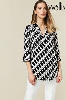 Wallis Hemd mit geometrischem Muster, Monochrom