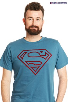 Fabric Flavours Blue Mens Superman Tuft Logo T-Shirt