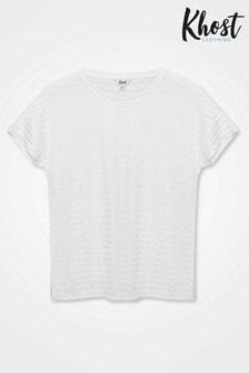 Khost White Burn Out Stripe T-Shirt